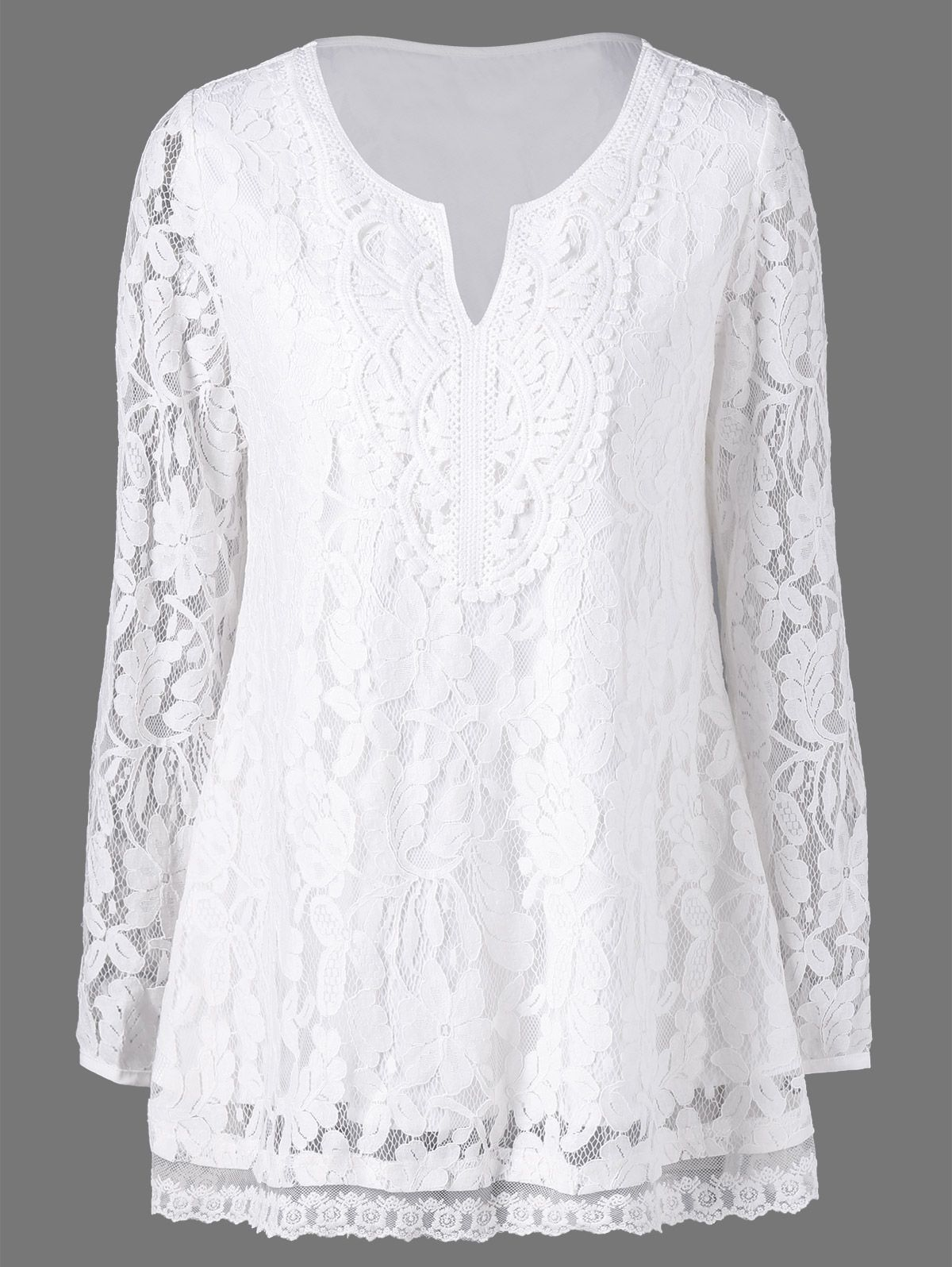 2afb4c3a57f9 Split-Neck Floral Lace Blouse | Tees & T-Shirts in 2019 | Blouse ...