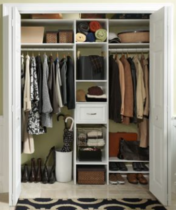 Similar Config For Full Height Closet In Stand Up Bedroom Left Hi Low Rods Center Drawers Baskets Boots Righ Basket Shelves Staying Organized Shoe Shelves