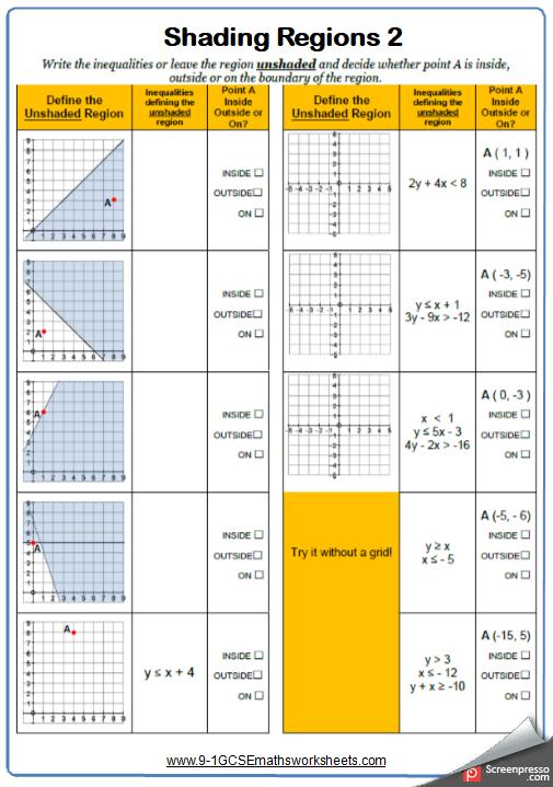Shading regions maths worksheet Solving inequalities