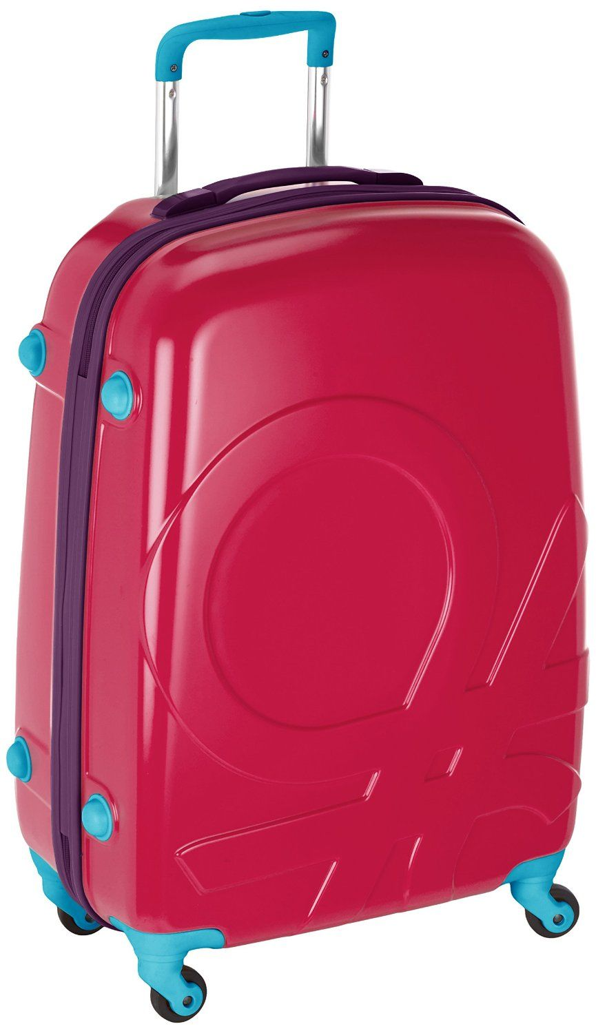 ae5654a6311 Stand out in the luggage crowd with the Pink Benetton Roller Case with 4  rotating wheels