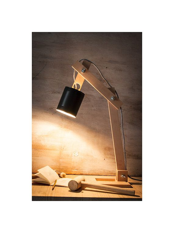 L mpara escritorio bote negro reciclado l mpara madera - Lamparas de escritorio ...
