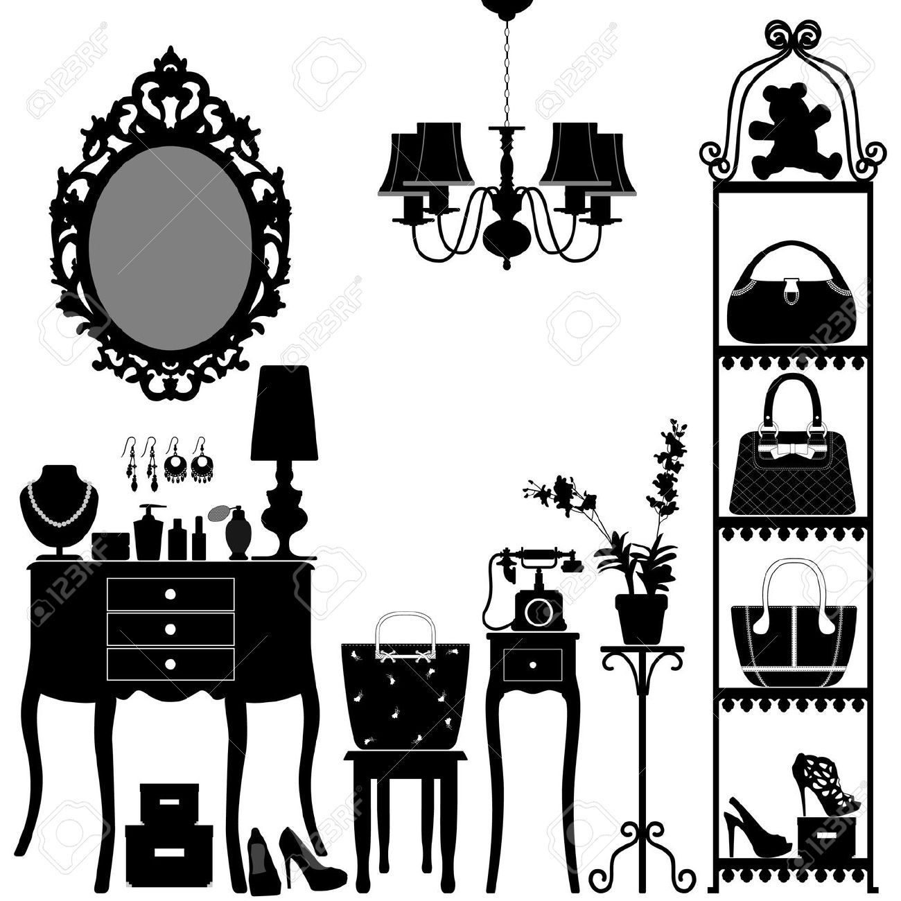 18811989 Woman Cosmetic Accessories Room Furniture Stock Vector Furniture Antique Design  (1300×1300)