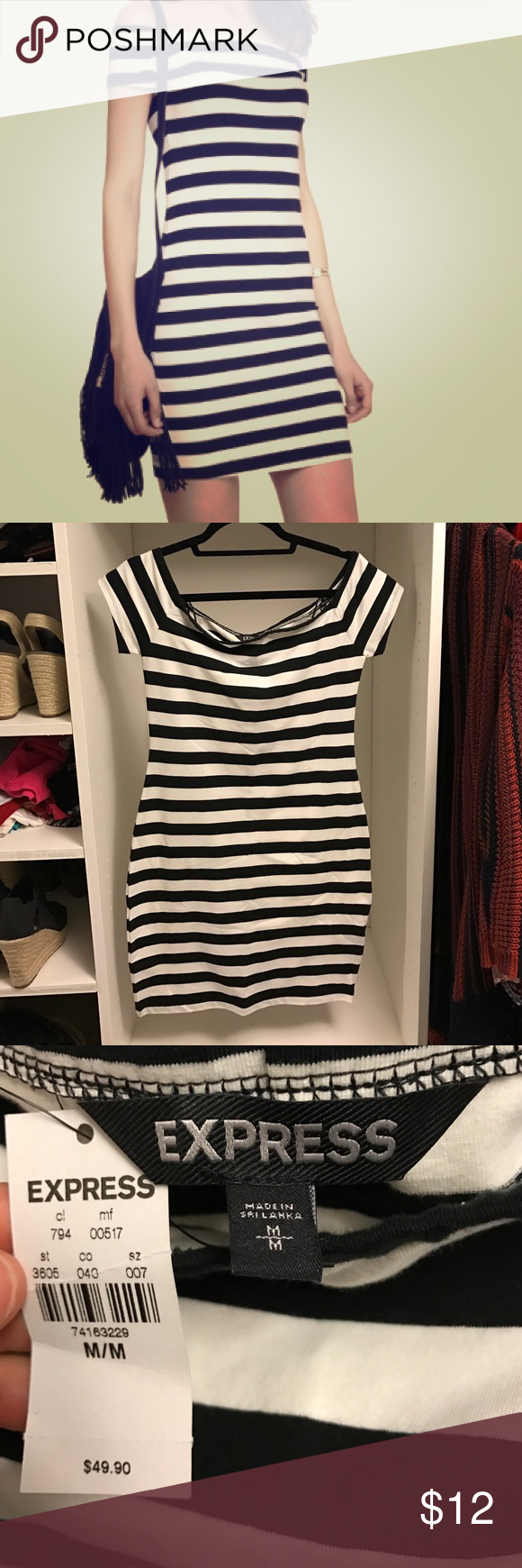 Express dress NWT size medium Black and white body con express dress with off the shoulder sleeves nwt size medium Express Dresses Mini