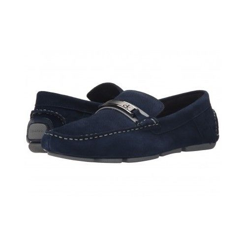 Calvin Klein Mens Marcell Suede Slipon Loafers  Navy Blue CalvinKlein LoafersSlipOns