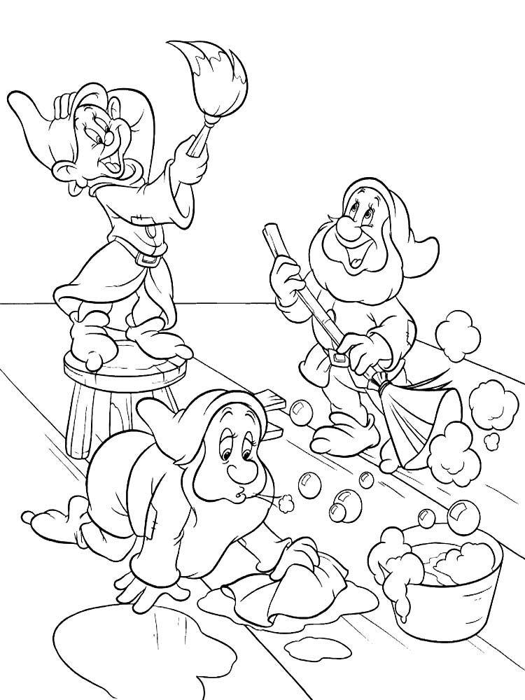 Белоснежка и гномы раскраска для детей