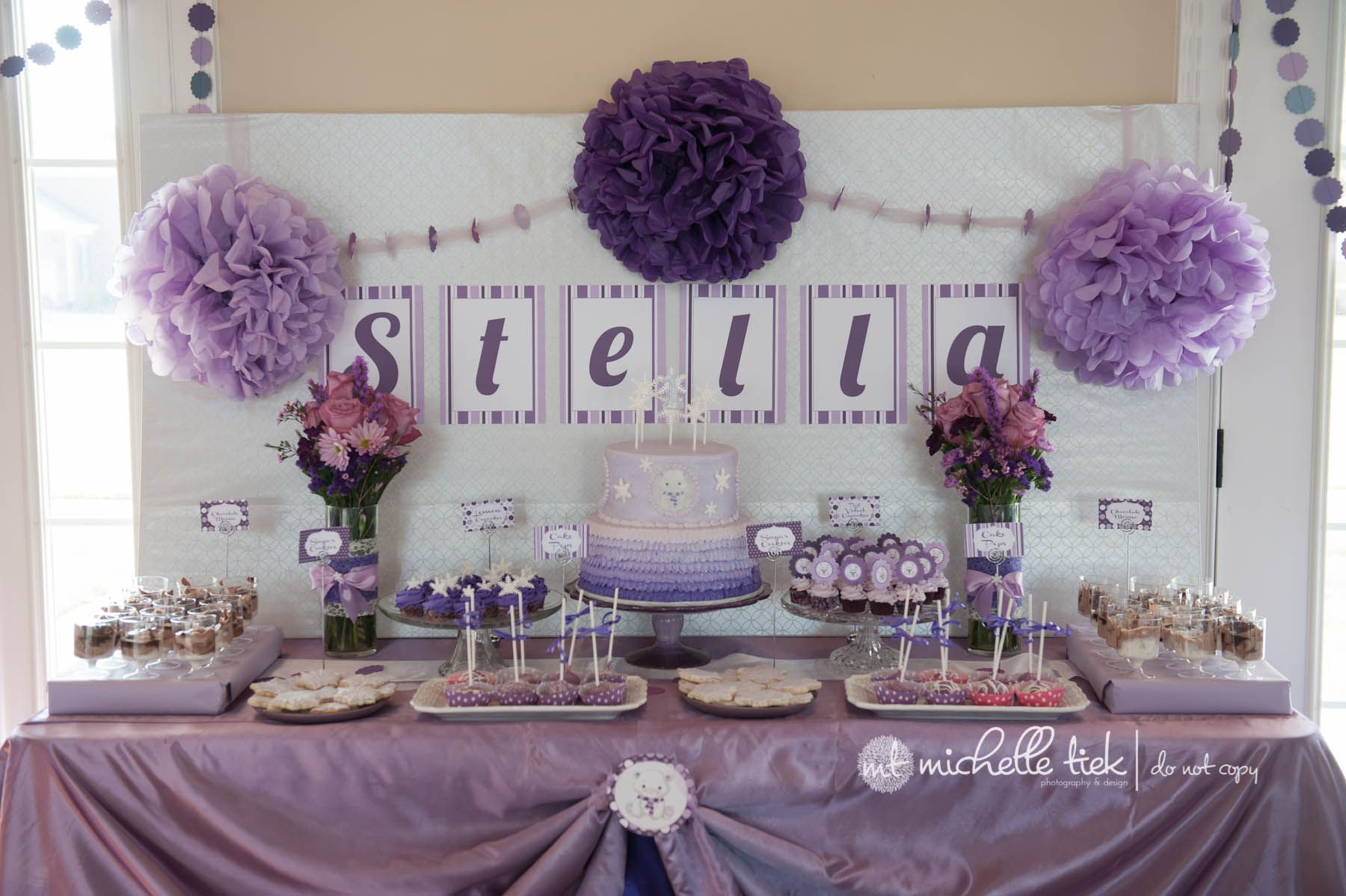 purple and white theme 1st birthday party