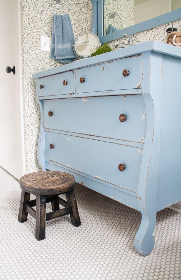 Vintage Dresser Blue And White Bathroom