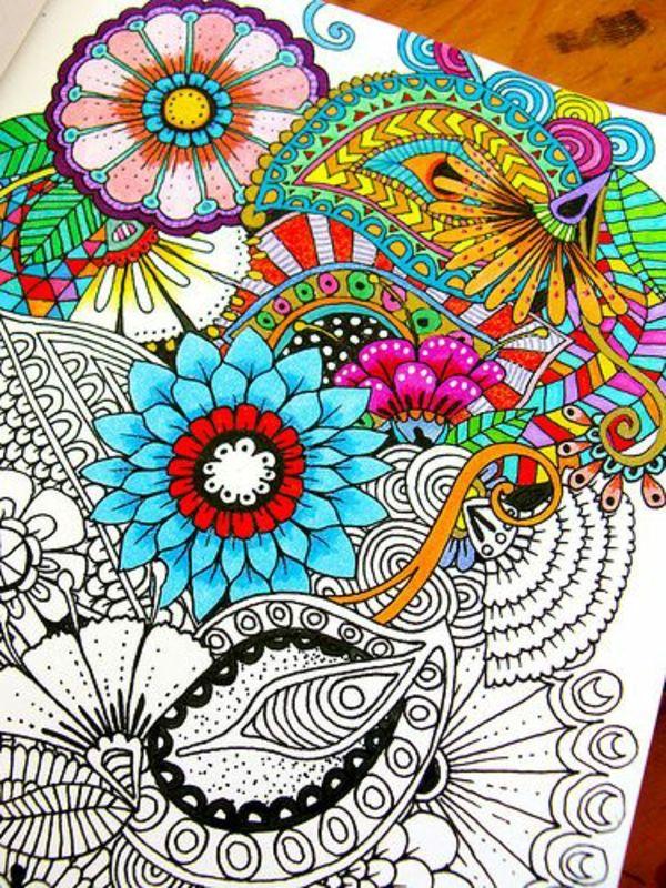 Mandala zum Ausmalen farben blumen | Zentangle-Muster | Pinterest ...