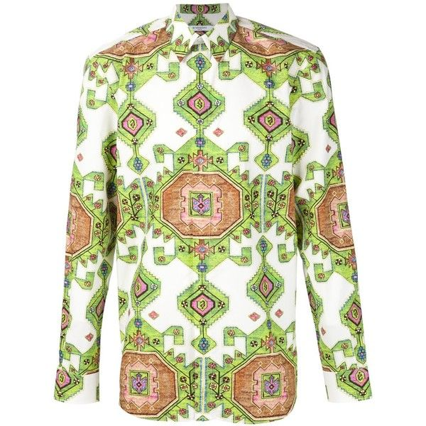 Givenchy Geometric Print Shirt ($835) ❤ liked on Polyvore featuring men's fashion, men's clothing, men's shirts, men's casual shirts, men, green, mens cotton shirts, mens long sleeve shirts, mens collared shirts and mens long sleeve cotton shirts