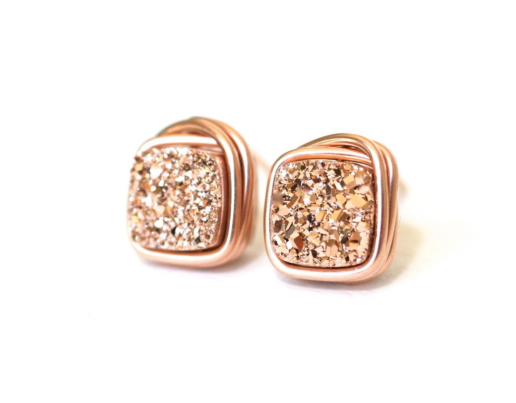Rose Druzy Tiny Cushion Stud Earrings – Wrenn Jewelry : $28
