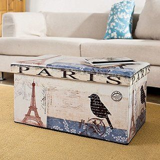 SoBuy Storage Ottoman, Folding Seat Box With Removable Cover, Paris Eiffel  Tower Pattern,