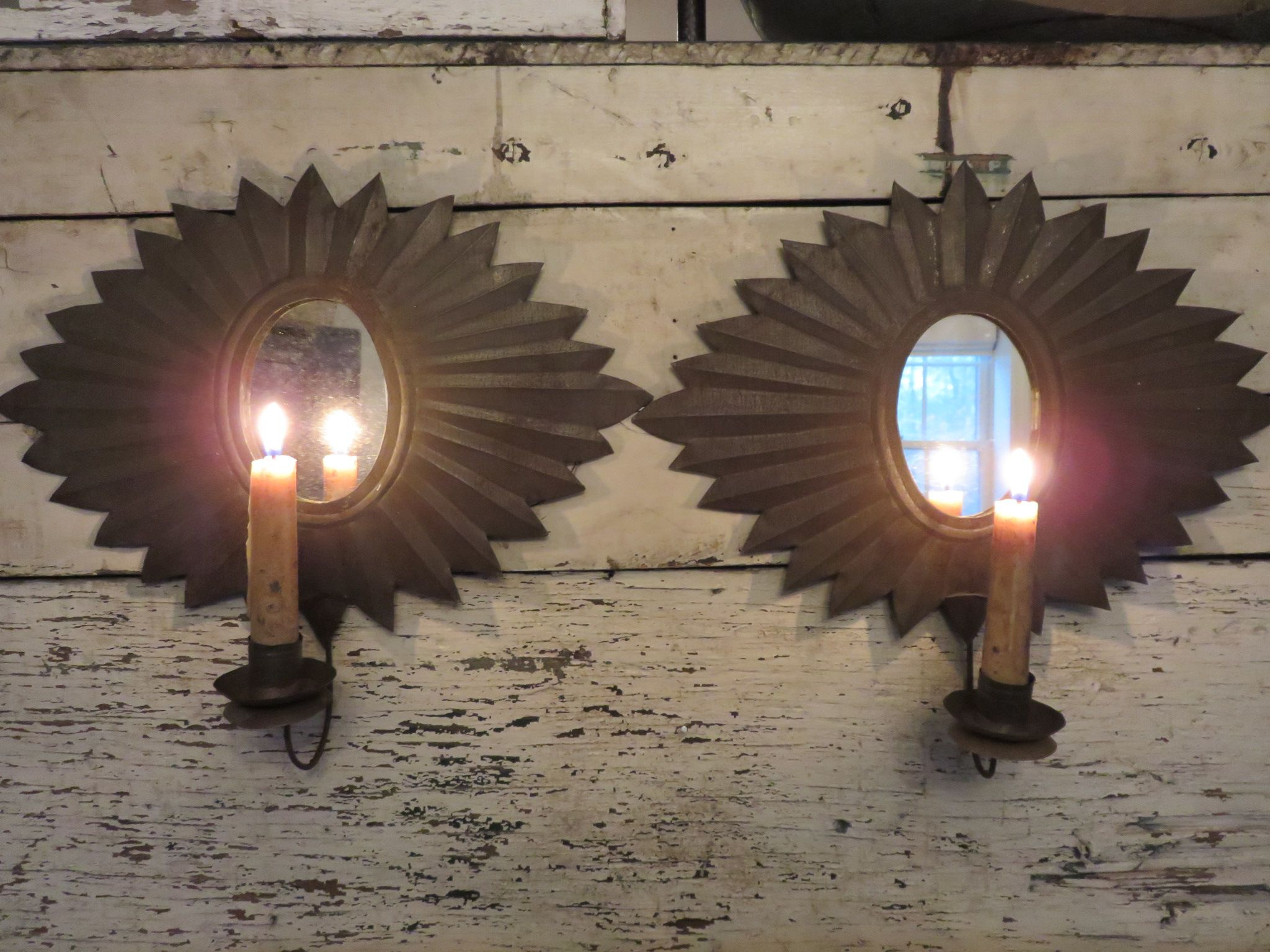 Ebay Pair Antique Mirrored Wall Sconces Antique Mirror Wall Mirrored Wall Sconce Primitive Lighting