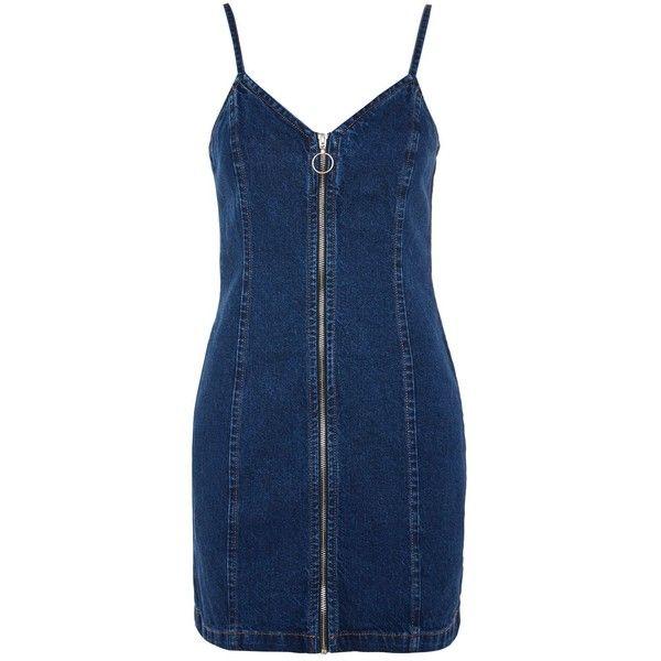 2ffba7e93c2 Topshop Moto Zip Denim Dress ( 43) ❤ liked on Polyvore featuring dresses