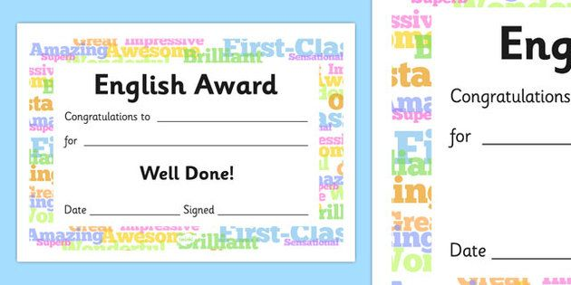 English Award Certificate Preschool EAL phonics Pinterest