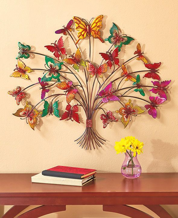 Butterfly Tree Wall Art Colorful Metal Wall Decor Butterfly Branches ...