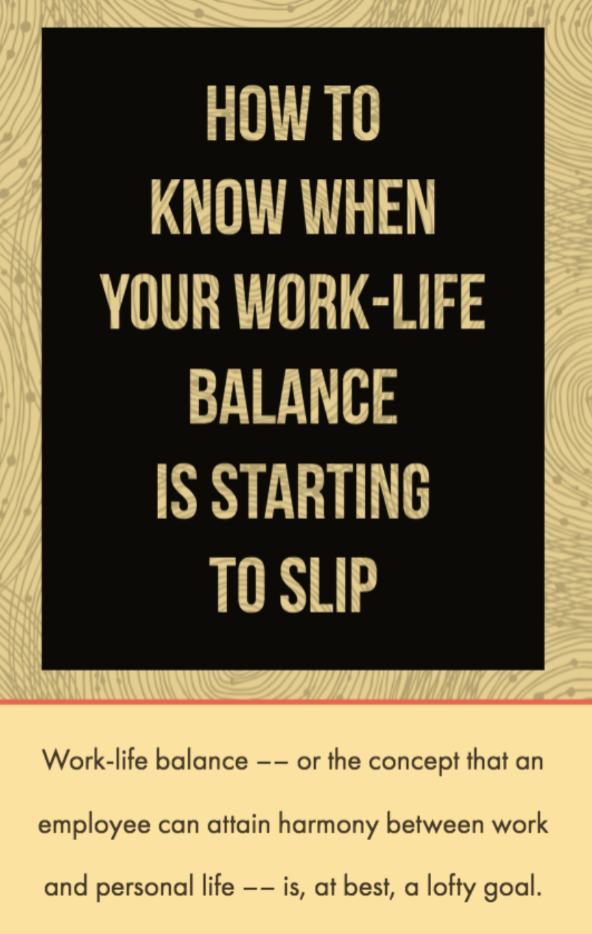 Work Life Balance Quote How To Recognize When Your Worklife Balance Is Starting To Slip