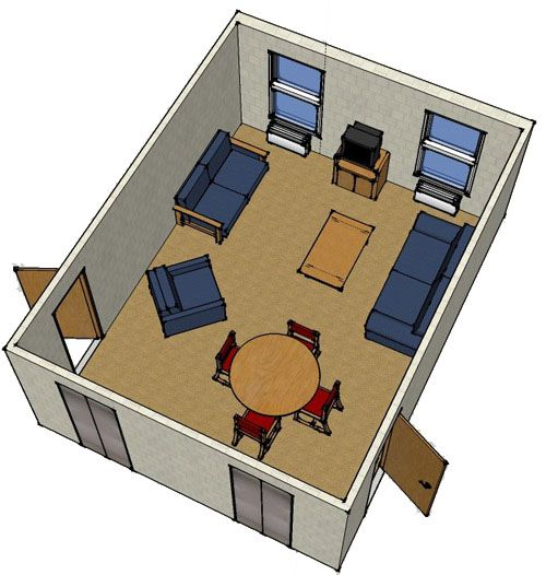 Every floor in Towers East has a floor lounge.  This is what they look like.  They are located by the elevators.