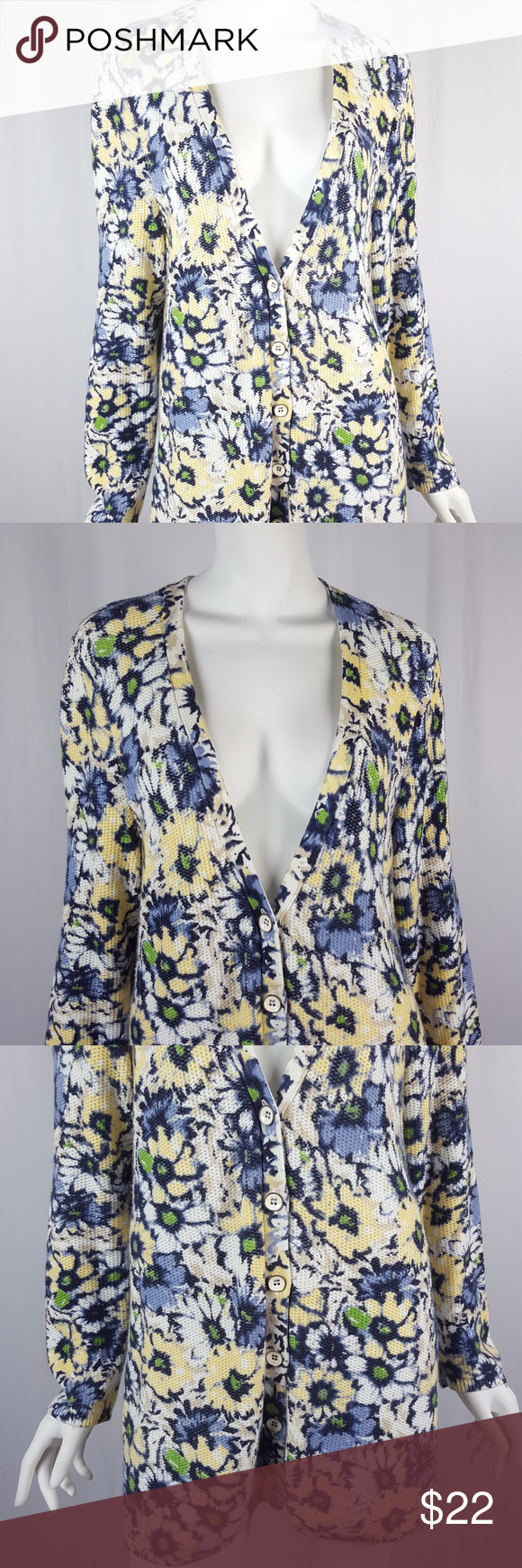 "J. Jill Yellow Blue Daisy Cardigan Sweater J. Jill Womens Size Large Yellow & Blue Daisy Print Long Sleeve Cardigan Sweater  Gently used with no flaws, see photos  Material: cotton, viscose, nylon  Measurements: 21"" armpit to armpit 20"" waist while laying flat 32"" in length  YA72 J. Jill Sweaters Cardigans"