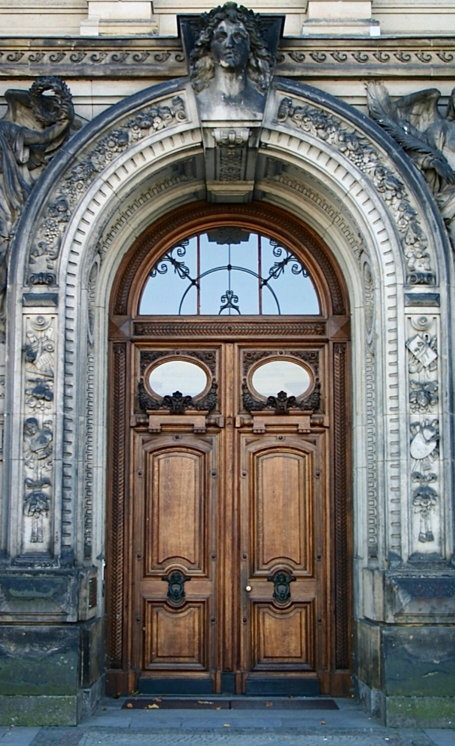 Arched portal double wooden doors just beautiful dresden
