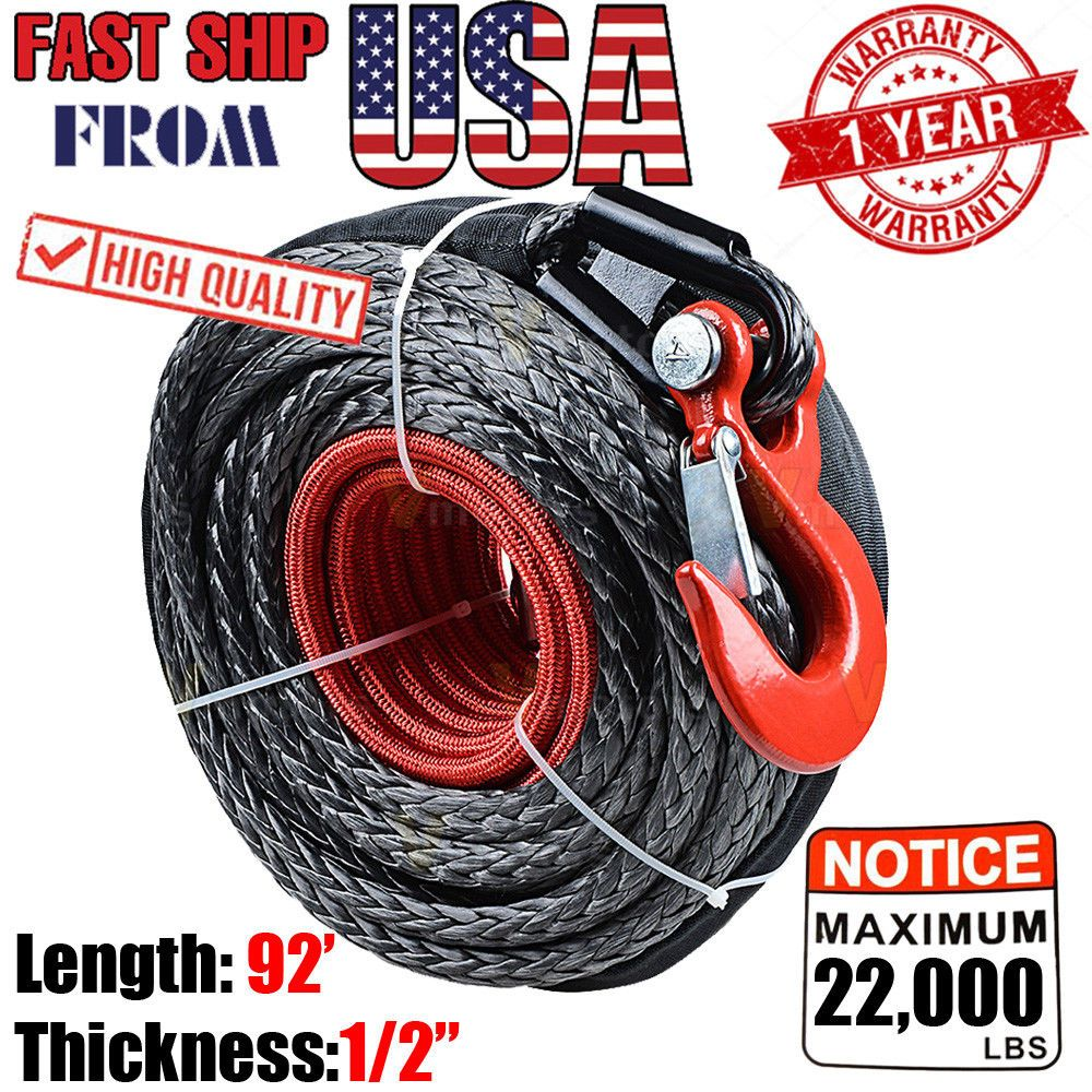1 2 X 92 22000lbs Synthetic Winch Rope Line Cable Hook Protective Sleeve Truck Synthetic Winch Rope Winch Rope Winches