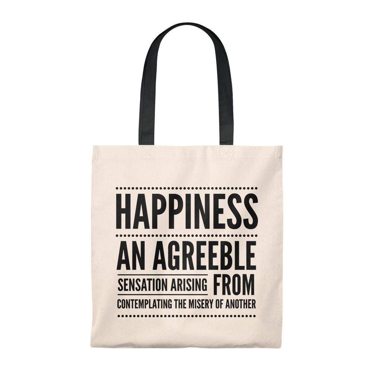 happiness definition tote bag funny snarky silly sarcastic bags