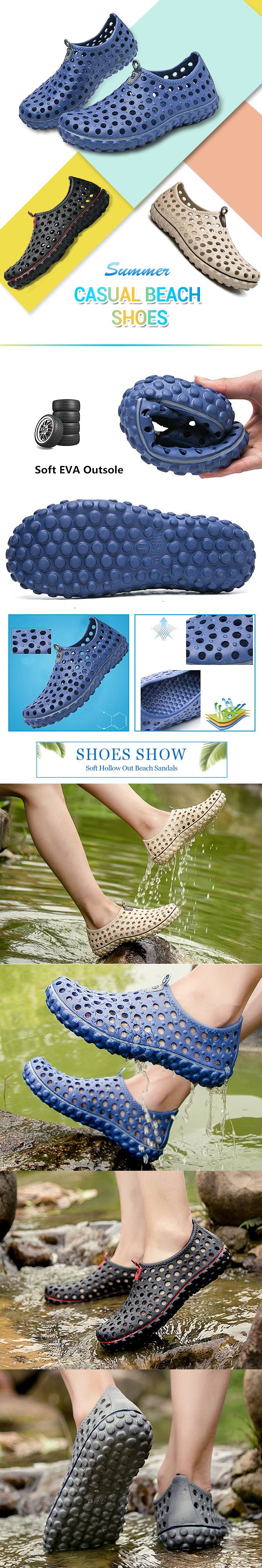 d940d77756e Men Soft Hollow Out Beach Sandals Outdoor Garden Shoes Casual Water Shoes