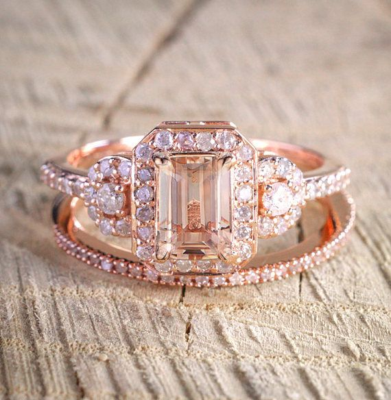 Limited Time Sale 150 carat Morganite and Diamond Halo Bridal