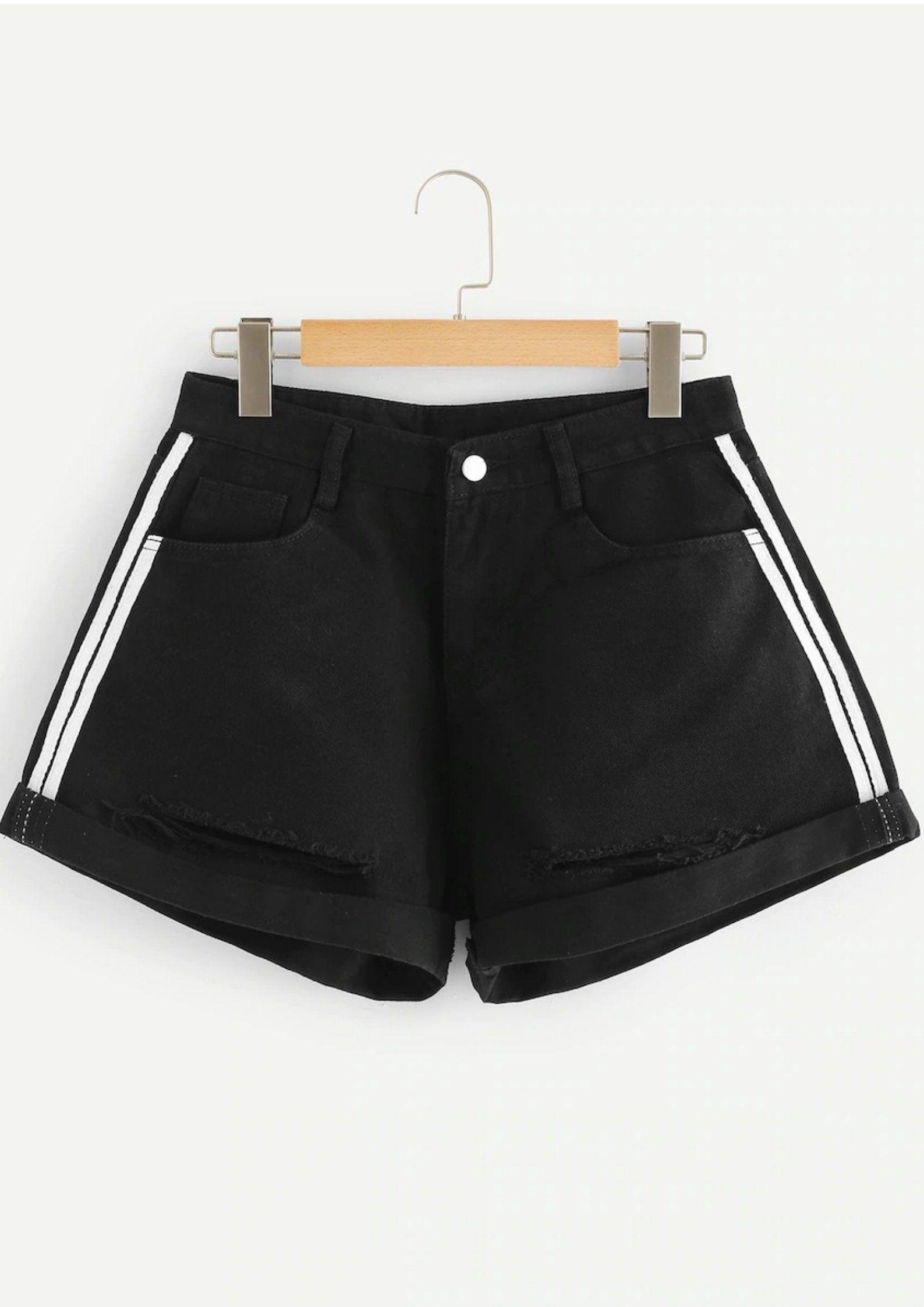 8c3405d3d Short Side-Striped Jeans Black ekkor: 2019 | Shortok,nadrágok ...