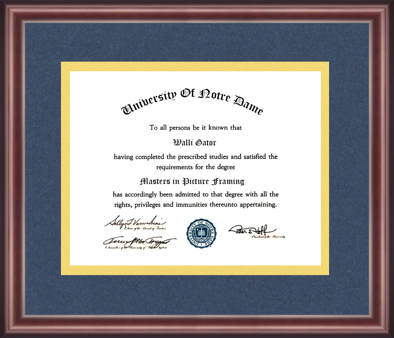 University of Notre Dame Diploma Frame | Pinterest | University ...