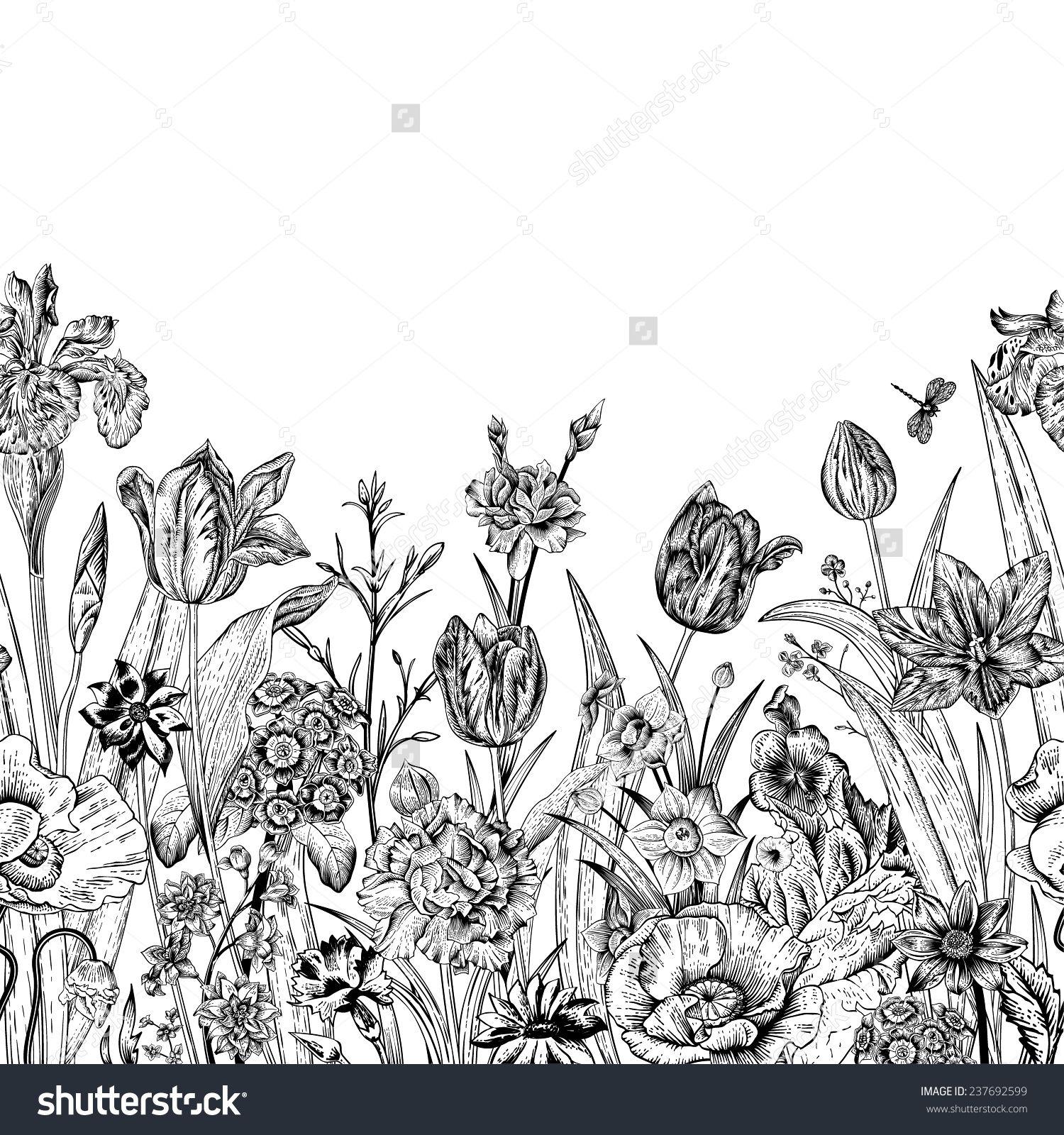 Spring Flowers Seamless Floral Border Poppies Iris Tulips Carnations Primroses