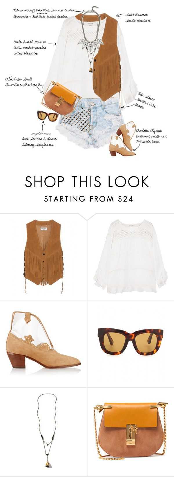 """""""Let The Sunshine In"""" by fashionscribbles ❤ liked on Polyvore featuring Yves Saint Laurent, Étoile Isabel Marant, Charlotte Olympia, Acne Studios, Abercrombie & Fitch, Chloé, Rebecca Minkoff and country"""