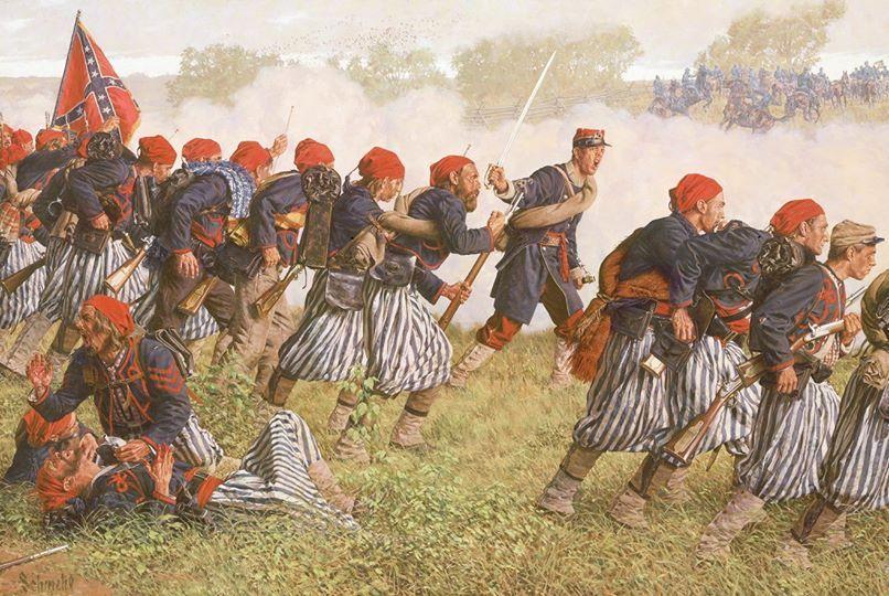 """""""Tigers to the Rescue"""" Le 1er Bataillon de Louisiane charge les positions d'artillerie Nordistes à Winchester, le 25 mai 1862"""