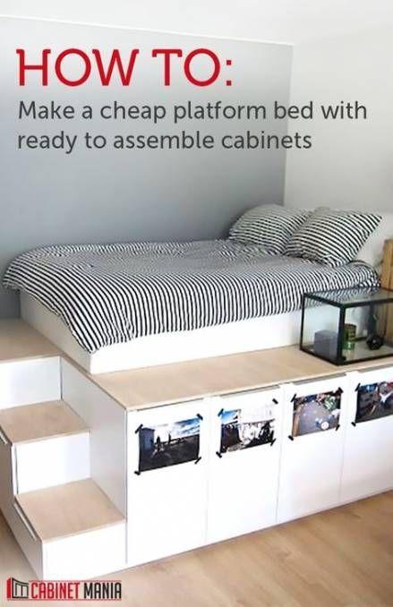 20 Genius Bedroom Organization Ideas For Inspiration Image 2 Of 50 In 2020 Cheap Platform Beds Diy Platform Bed Storage Furniture Bedroom