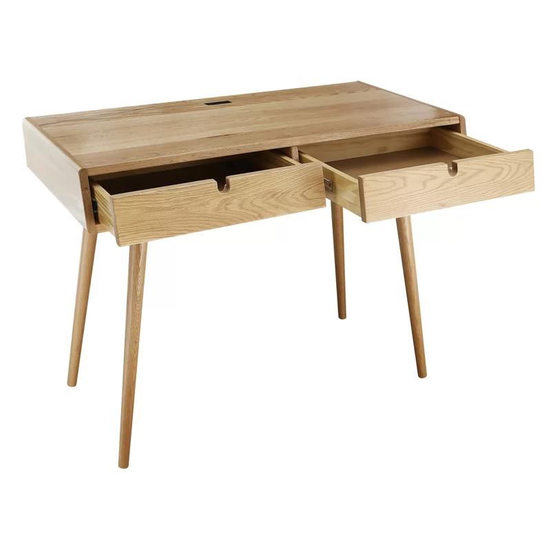 Aldrich Solid Wood Writing Desk In 2020 Solid Wood Writing Desk