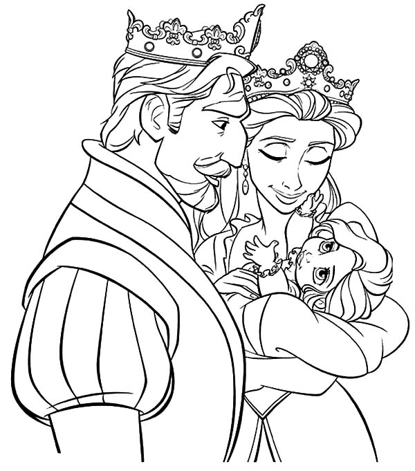 Tangled King And Queen Watch Their Princess Coloring Pages Kids Play Color Disney Princess Colors Disney Princess Coloring Pages Tangled Coloring Pages