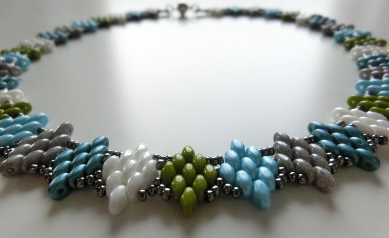 Ketten kurz - Halskette 'Rauten' aus SuperDuo - ein Designerstück von SandraEbRi bei DaWanda