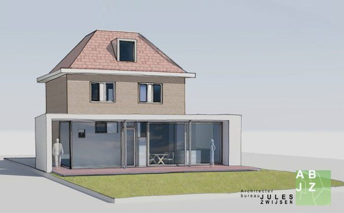 Een moderne uitbouw vergunningsvrij bij een jaren dertig for Moderne aanbouw aan klassiek huis