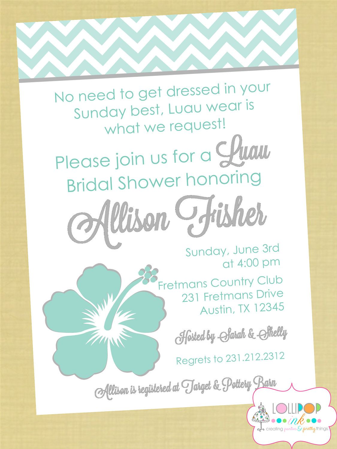 Luau Bridal Shower Printable Party Invitation by LollipopInk ...