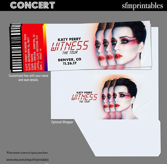 Katy Perry Witness Tour Concert Tickets Gift Custom - Event - concert ticket design