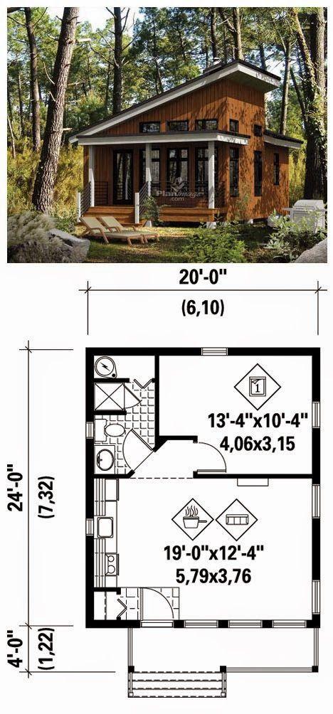 Tiny House And Blueprint | 16x20 floor plan | Tiny cabins