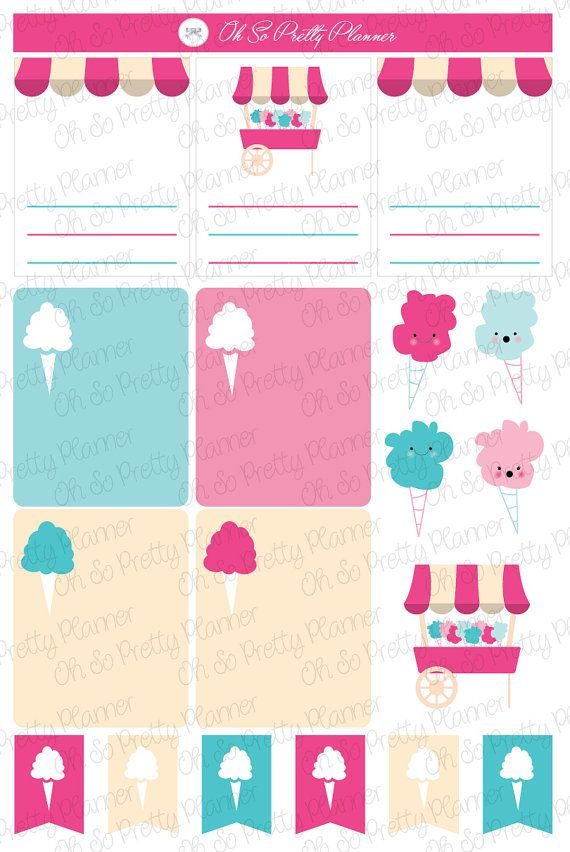 Planner Stickers Cotton Candy Sticker Set For Your Planner