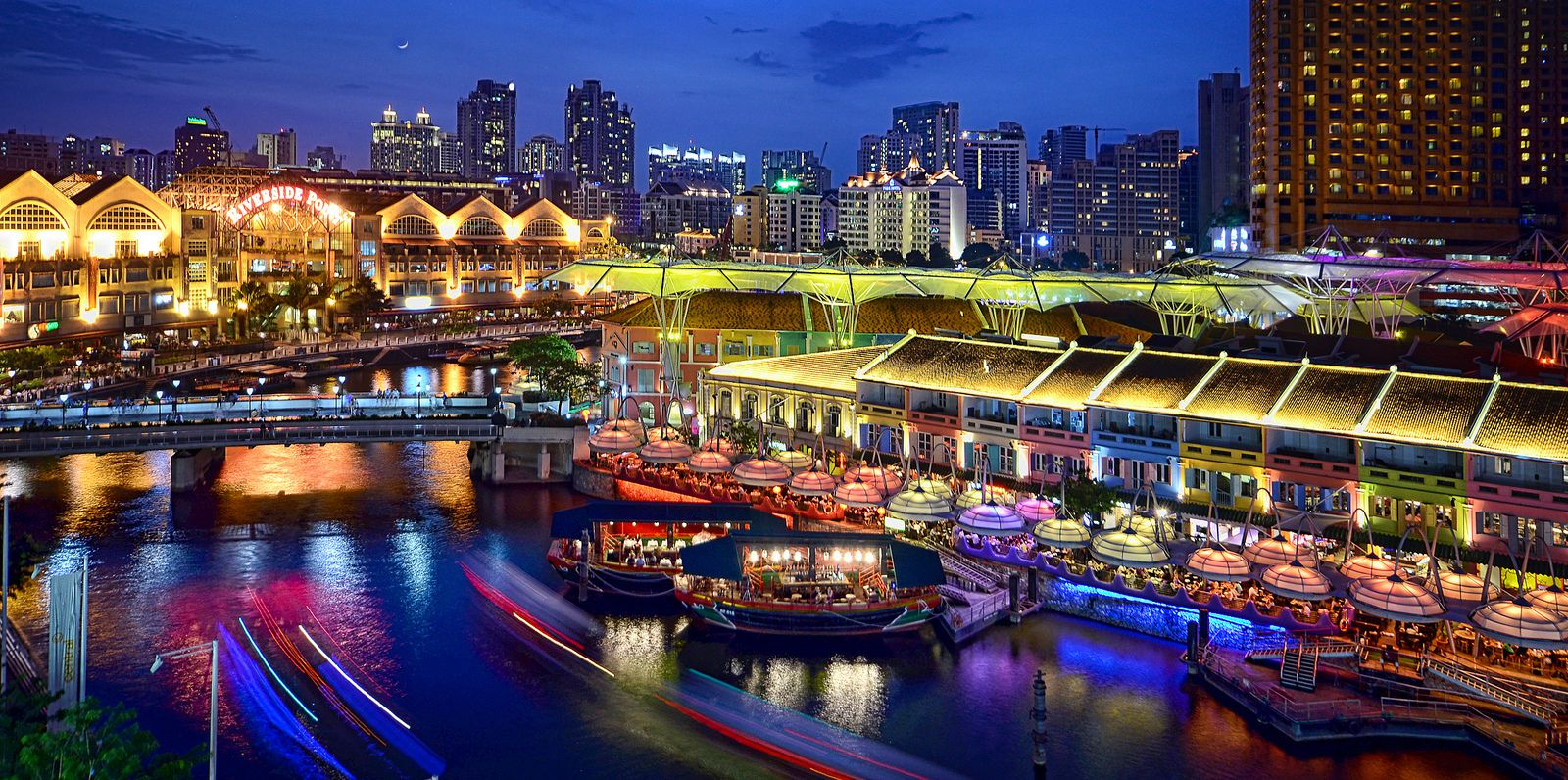 Clarke Quay Riverside Point At The Blue Hour Singapore Attractions River Trip Visit Singapore
