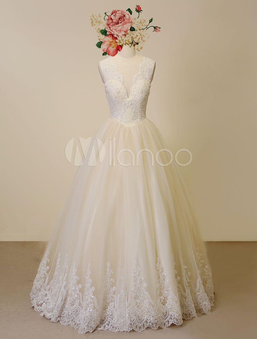 Champagner Hochzeitskleid Spitze Applique Tüll Brautkleid ...
