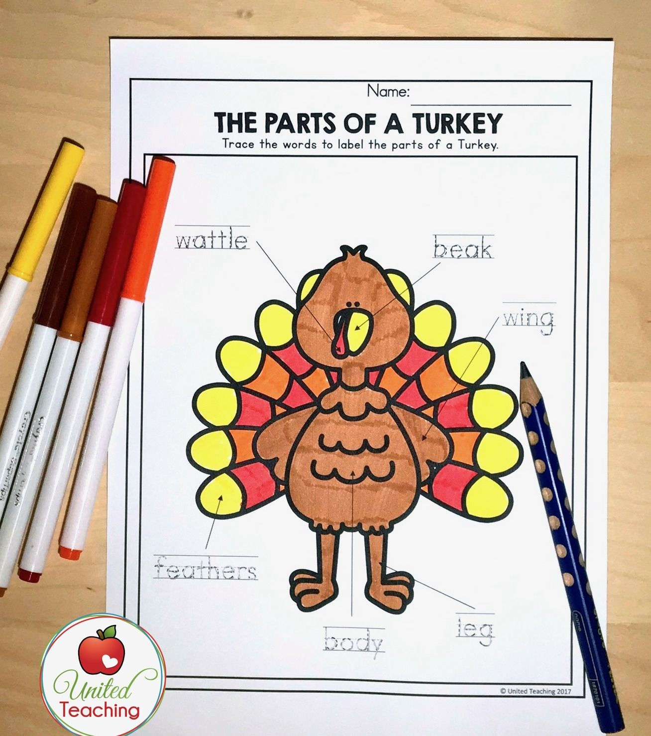 Thanksgiving Parts Of A Turkey Handwriting Worksheet