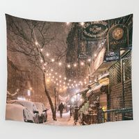 Wall Tapestries featuring Snow - New York City - East Village by Vivienne Gucwa