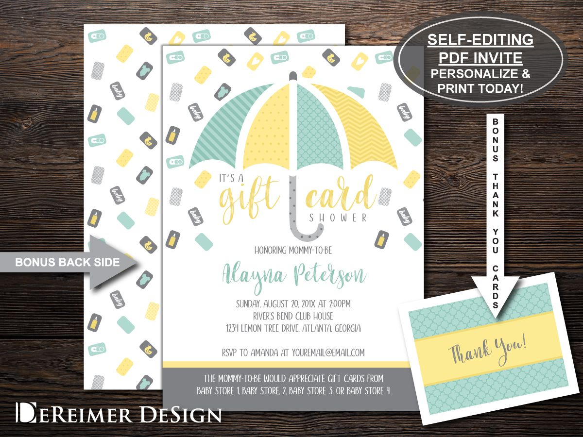 Gift card tree for baby shower - Gift Card Baby Shower Gender Neutral Baby Shower Invitation Yellow Mint And