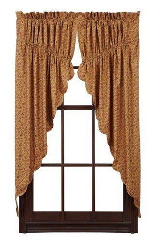 Lewiston Saclloped Lined Prairie Curtains Primitive Star Quilt