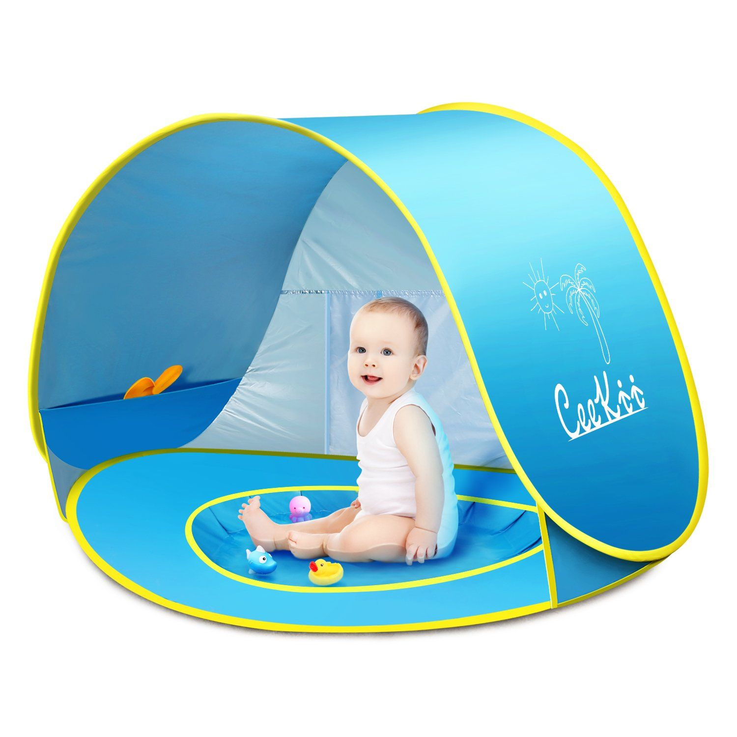 Ceekii Baby Beach Tent Pop Up Tent Portable Shade Pool Uv Protection Sun Shelter With Mini Pool Carry Bag And Det Beach Tent Baby Beach Tent Pop Up Beach Tent