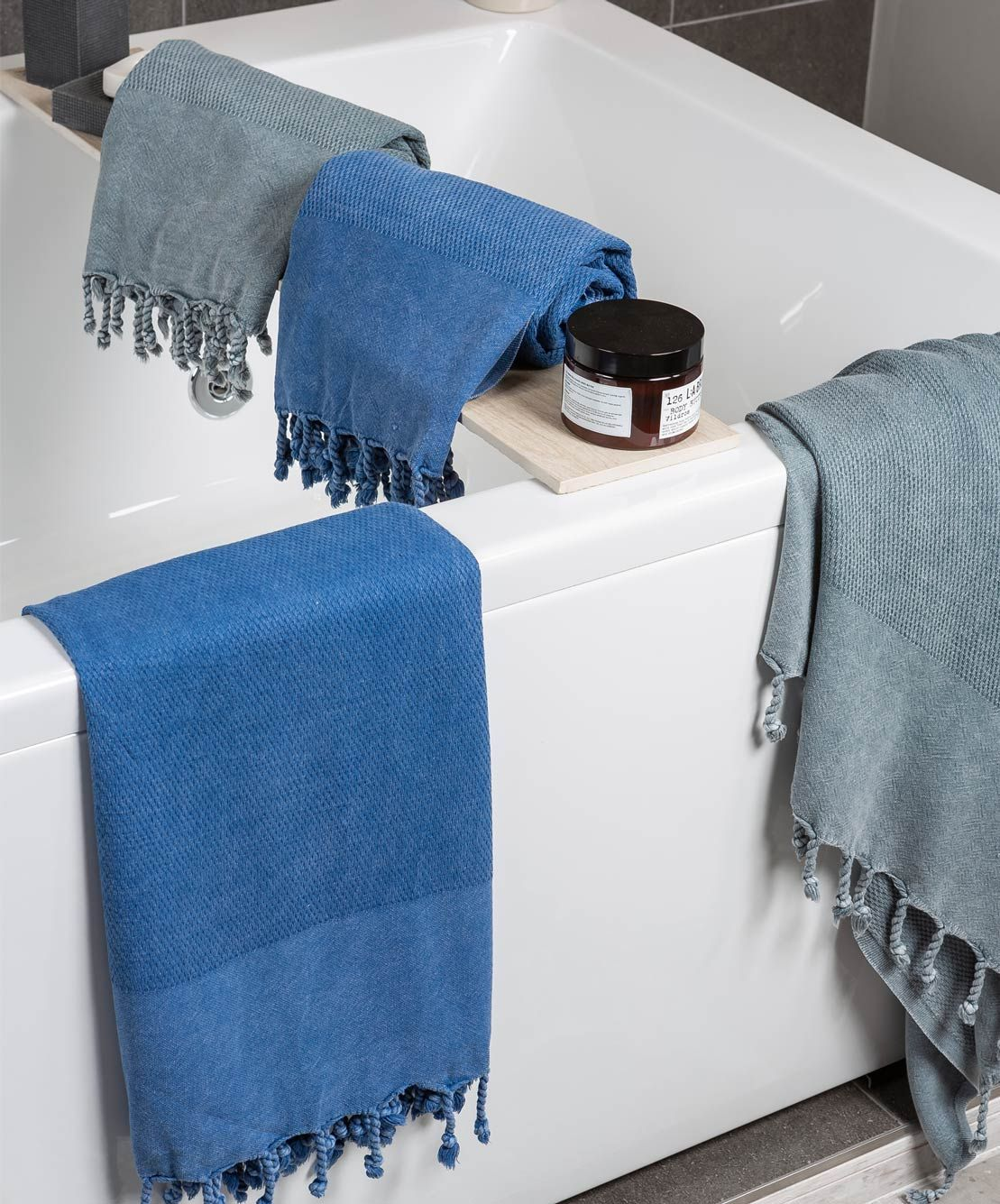 Stonewashed Velvet Touch Turkish Towel With Hand Knotted Fringes