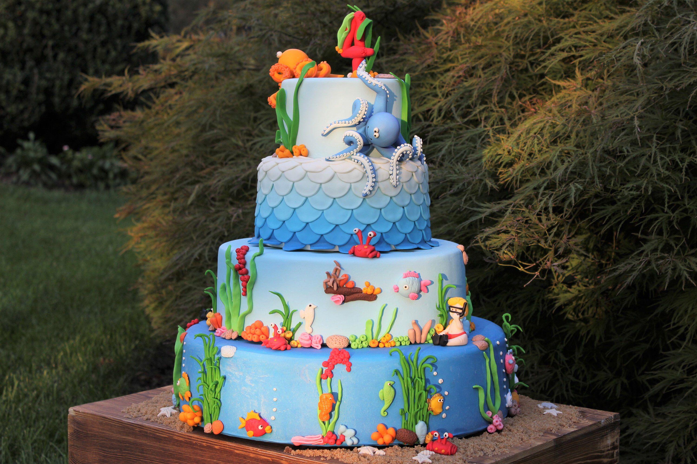 Under The Sea Cake Mermaid Birthday Party Under The Sea Birthday